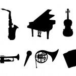 Музыка. Музыкальные инструменты в векторе. Силуэты. Трафарет.