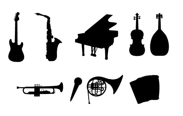 музыкальные инструменты, гитара, рояль,контрабас, виолончель, труба, микрофон, баян, тромбон, лютня, силуэты, в векторе, трафарет, AI, EPS, SVG
