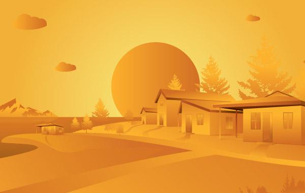 Оранжевый пейзаж в векторе