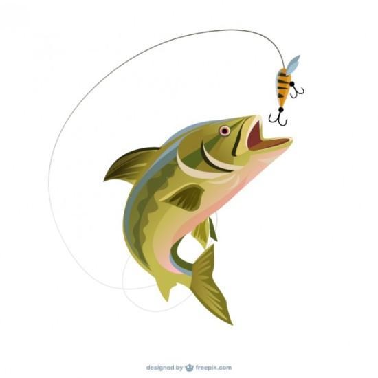 Рыба и наживка. Рыбалка в векторе.
