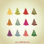 Клипарт новогодние елки в векторе.