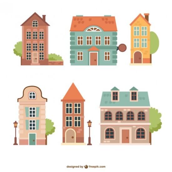 Рисунки домов в векторе.