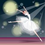 Вектор балет, балерина, сцена