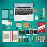 Для дизайнера: ноутбук, ножницы, маркеры в векторе.