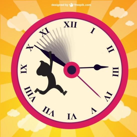 Часы в векторе.