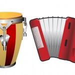 Барабан и аккордион. Музыкальные инструменты.