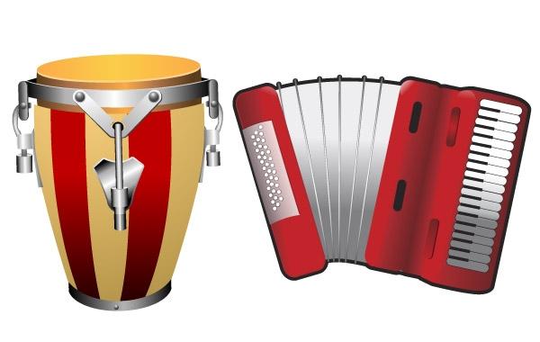 музыка, национальные инструменты, барабан, аккордион