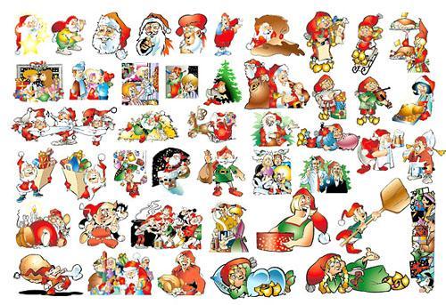 Новый год, Дед Мороз, Санта Клаус, векторный клипарт, елка, подарки, формат EPS, формат JPG, мультфильм, рисунок, гномы