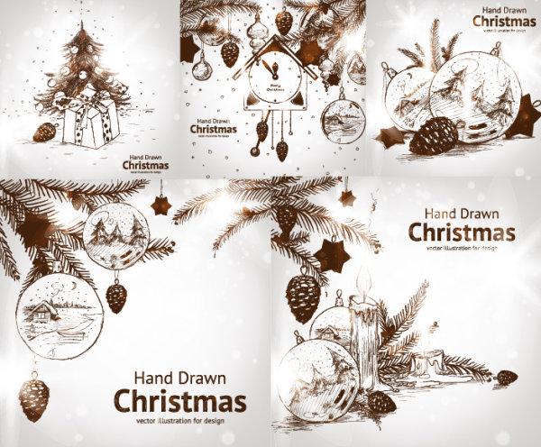 Векторные рисунки карандашом Новый год, шишки, часы, игрушки