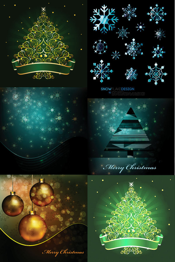 Векторные картинки елка, снежинки, игрушки