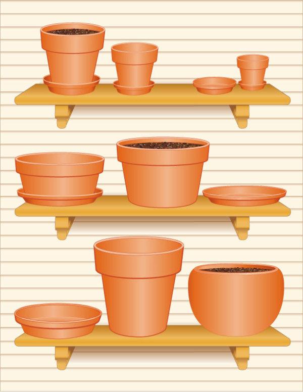 Садоводство, цветочные горшки, уход за цветами, горшки с землей, домашние цветы, вектор,EPS формат,JPG формат