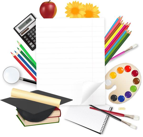 канцелярские принадлежности, книги, краски, палитра, кисти, кисточки, блокнот, тетрадь, цветные карандаши, скрепка, бумага, калькулятор, яблоко, лупа, увеличительное стекло, цветы, грамота, квадратная академическая шляпа