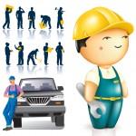 Картинка рабочих и строителей и векторное изображение рабочих и строителей. Силуэты рабочих.