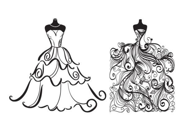 Черно-белые рисунки, картинки свадебных платьев. Векторное изображение.