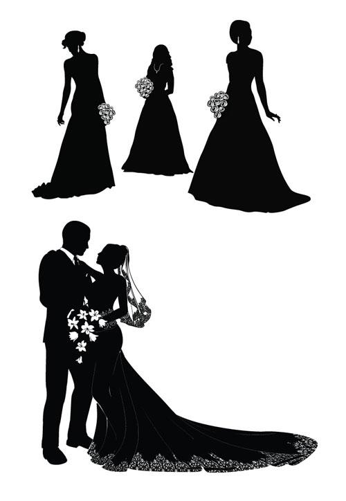 Векторное изображение жениха и невесты. Черно-белая картинка жениха и невесты в векторе. Силуэты. Гр...