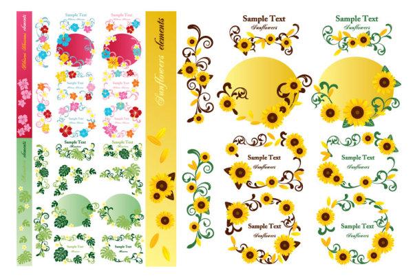 Векторный и растровый клипард цветов подсонечника для логотипов, объявлений