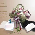 Psd исходник открытка к дню святого Валентина или для любой открытки. Корзина с цветами.