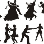 Черно-белый рисунок. Силуэт. Танцы.Танцующие пары. Векторное изображение.