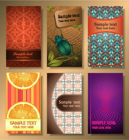 Векторные визитки, закладки, открытки, баннеры