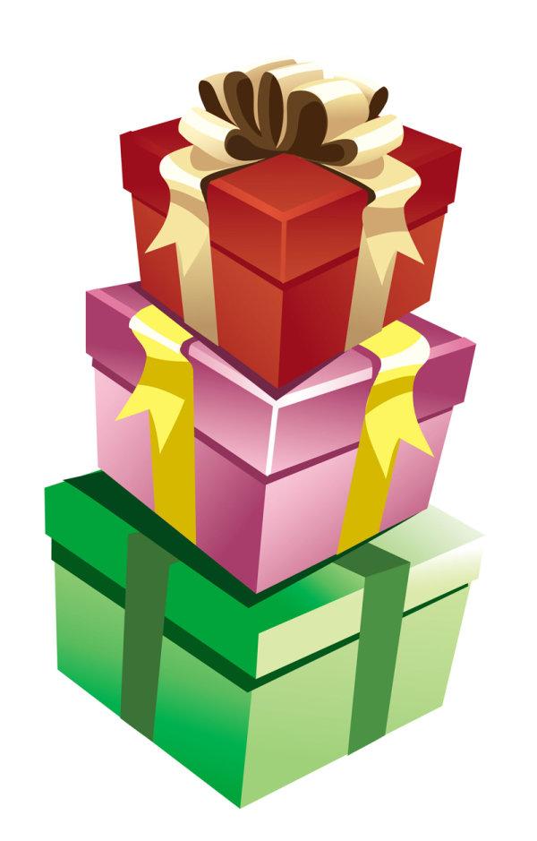 Векторные коробки, подарки, ленты на белом фоне