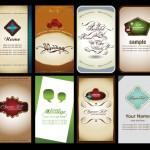 Векторные визитки,  наклейки, закладки, открытки