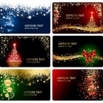 Векторные новогодние баннеры, листовки, визитки, открытки