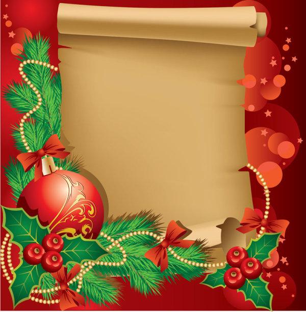 Векторный фон Новый год, рождество. Открытка. Свиток бумаги.