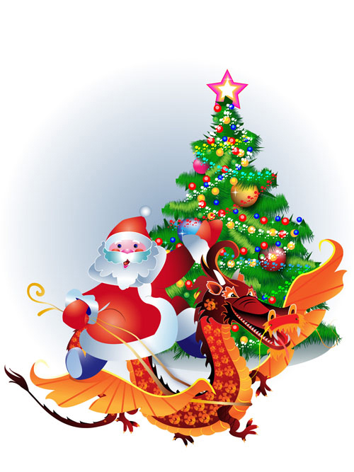 мультфильм,новый год,дед мороз, елка, дракон,символ года,EPS формат,JPG формат,рисунок,