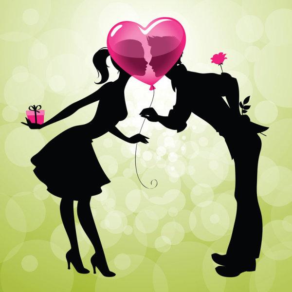 Векторная открытка,поцелуй, любовь, силуэты