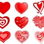 Векторные сердца, любовь