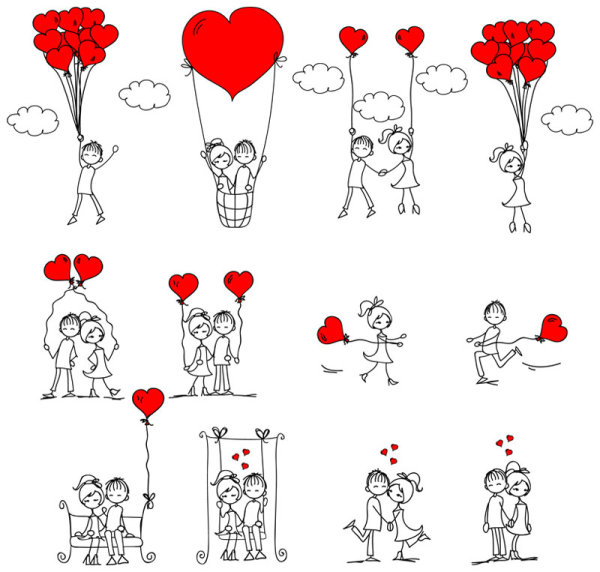 графика,любовь,девочки,мальчики, сердечки, воздущный шар, качели, контур, рисунок,EPS формат,JPG формат,День святого Валентина, дети, эскиз