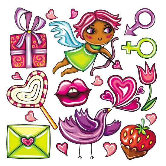 Мультфильм, иллюстрации  детского творчества, леденец, конфета,  наклейки, конверты, ангел, Амур, подарки, клубника, сердца, вектор,  EPS формат, птица, рисунок, губы, поцелуй, сердечки, знаки мужчины и женщины