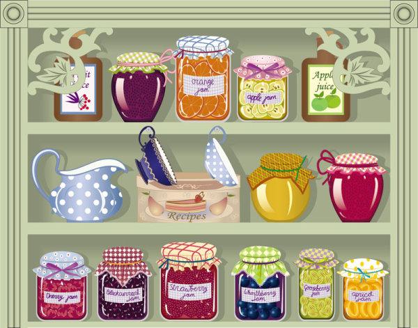 мультфильм,окно, магазин, чашки, варенье, джем, персики, апельсины, банки, графин, крыжовник, полки, EPS формат, яблочный сок, рисунок,JPG формат,