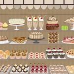 Вектор Витрина магазина, кондитерской, торты, пирожные, коктейли, пирог