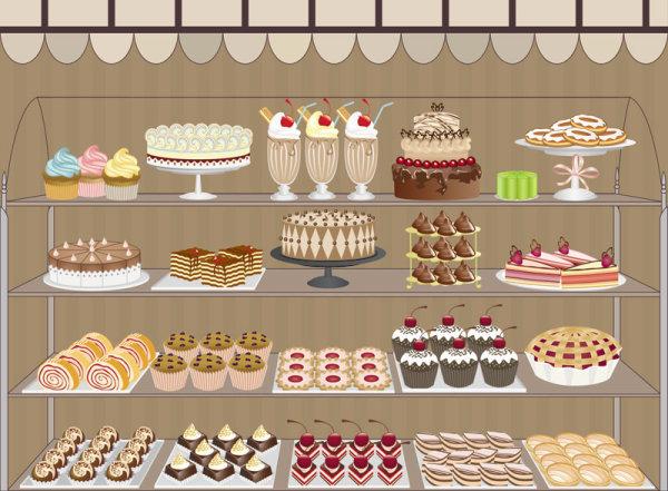 мультфильм, окно, магазин, кондитерская, торты, пирожные, коктейли, рулеты, пирог, полки, вектор, EPS формат, рисунок,JPG формат