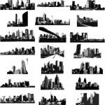 Силуэты городов, небоскребов, зданий в векторе. Трафарет, черно- белый рисунок.