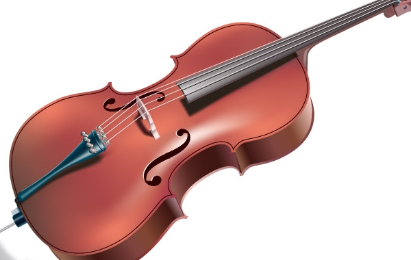 Контрабас, виолончель на белом фоне. Музыкальные инструменты. Векторная картинка.