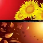 Векторный весенний фон и осенний фон