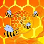 Пчелки в сотах. Векторная картинка.