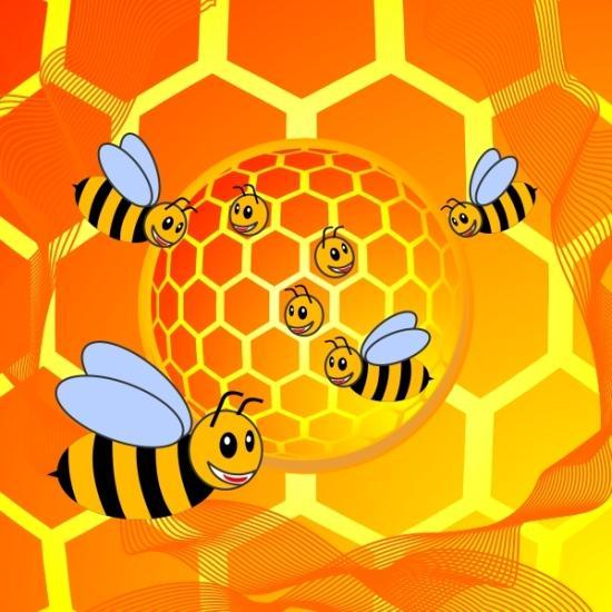 пчелы, мед, соты, EPS, CDR, векторная картинка, рисунок, скачать, бесплатно