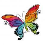 Яркая бабочка в векторе на белом фоне. Рисунок, контур, силуэт.