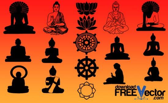 Будда силуэты и рисунки в векторе.
