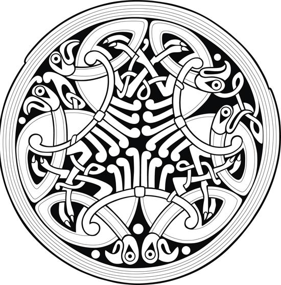Кельтские узоры. Круг с птицами. Эскиз. Тату. Трафарет.