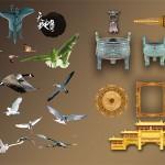 PSD исходник птиц, фонаря, элементов китайской культуры