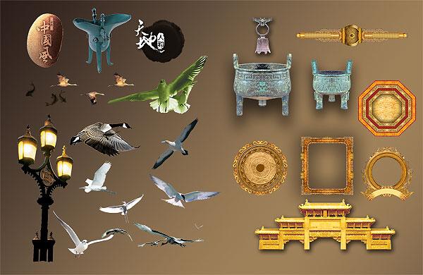 PSD исходник, птицы, чайки, здание, фонарь, рамки, аист, утка, Китай, чан, слои