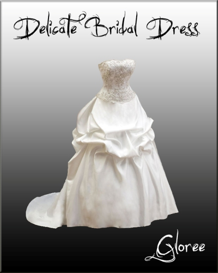 Свадебное длинное белое платье для невесты. PSD исходник.