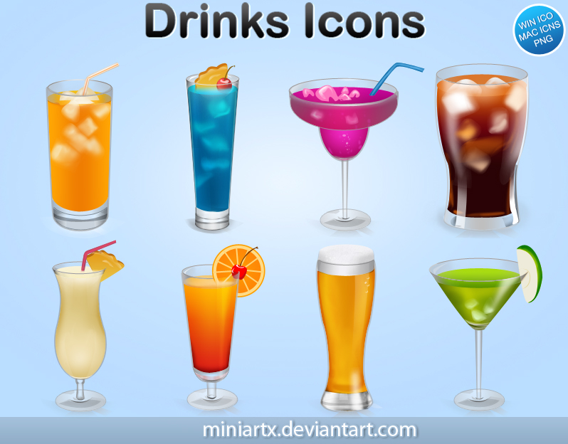 Иконки ico и png. Напитки, коктейли, стаканы, бар.