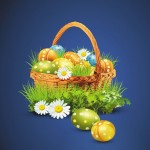 Пасха. Корзинка с пасхальными яйцами