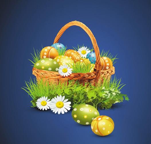 абстрактный фон, Пасха, пасхальные яйца, корзина, листья, цветы, вектор, EPS формат,JPG формат