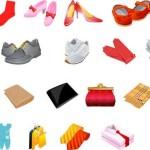 Векторная одежда и обувь. Туфли, сумки, перчатки.